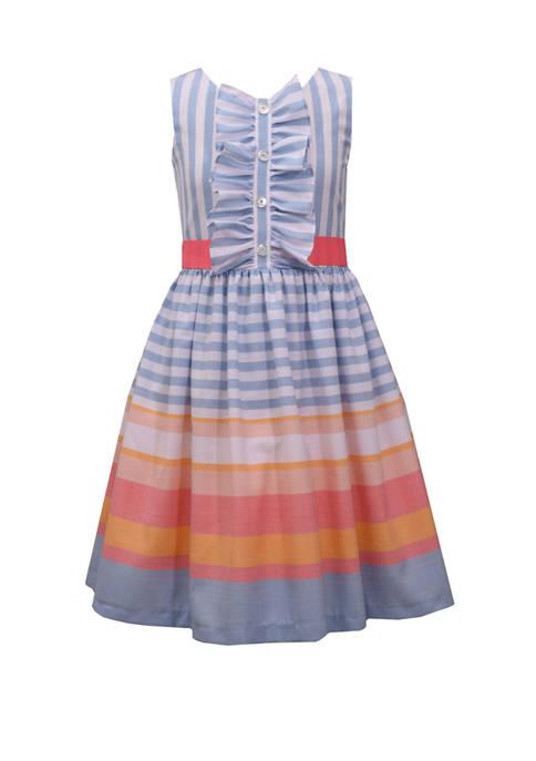 Bonnie Jean Girls 7-16 Stripe Ruffle Linen Dress