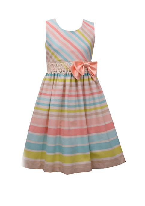 Girls 7-16 Pastel New Stripe Linen Dress