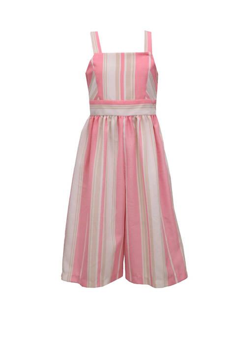 Bonnie Jean Girls 7-16 Pink Linen Stripe Jumpsuit