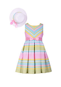 Bonnie Jean Girls 7-16 Striped Easter Dress and Hat Set