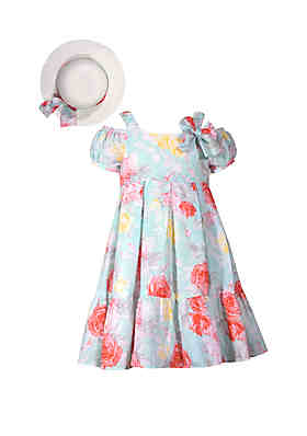 Bonnie Jean Girls 7-16 Aqua Floral Hat Dress Set ... 936daf759