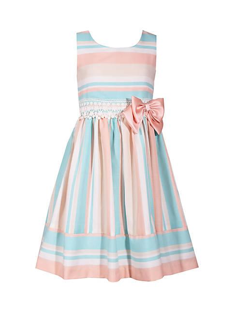 Bonnie Jean Girls 7-16 Coral Mint Stripe Easter