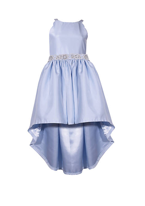 Girls 7-16 Blue High Low Mikado Belted Dress