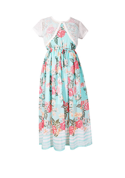 Girls 7-16 Aqua Cardigan Maxi Border Print Dress