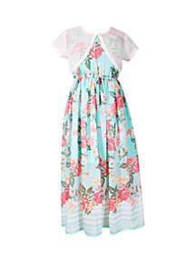 Bonnie Jean Girls 7-16 Aqua Cardigan Maxi Border Print Dress