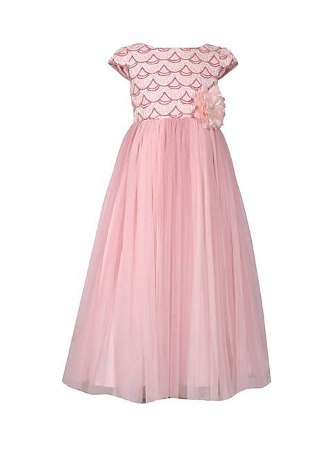 Girls 7-16 Pink Cap Sleeve Ball Gown
