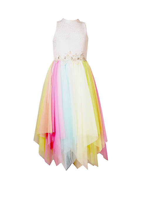 Bonnie Jean Girls 7-16 Multi Tulle Rainbow Party