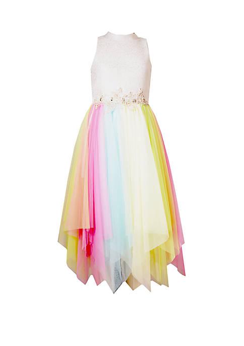 Girls 7-16 Multi Tulle Rainbow Party Dress