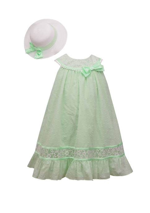 Girls 7-16 Clip Dot Dress and Hat