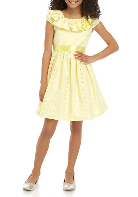 Bonnie Jean Girls 7-16 Yellow Ruffle Dress