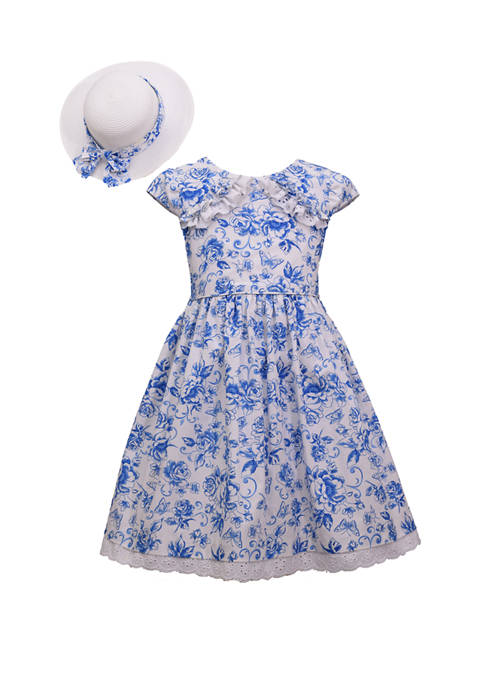 Girls 7-16 Floral Dress and Hat