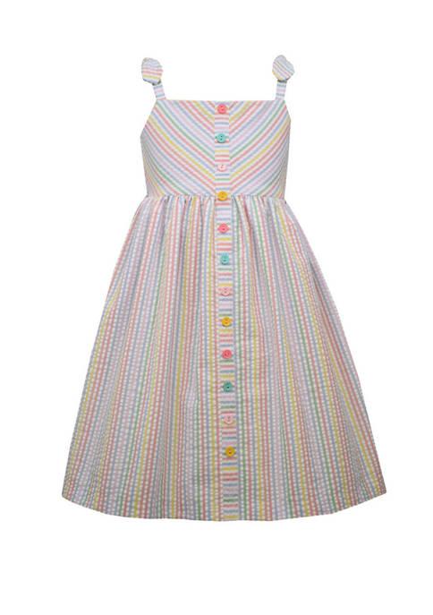 Bonnie Jean Girls 4-6x Sleeveless Multi Stripe Seersucker