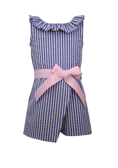 Bonnie Jean Girls 4-6x Striped Seersucker Romper
