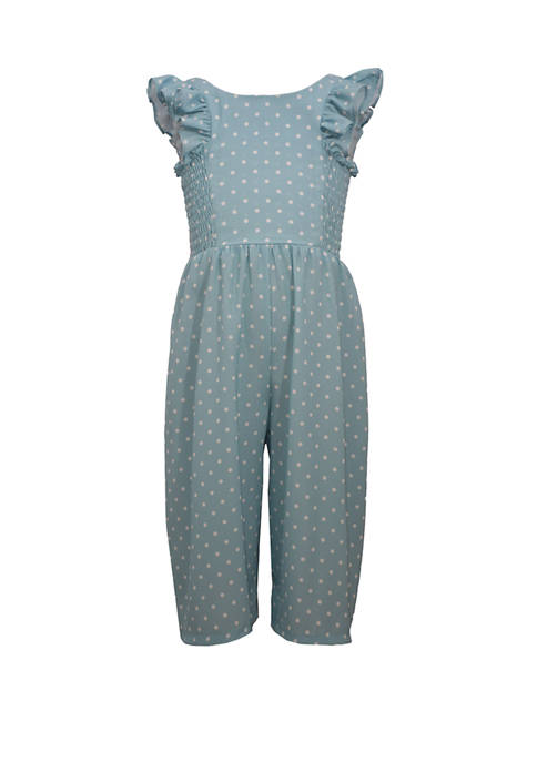 Bonnie Jean Girls 4-6x Flutter Sleeve Dot Jumpsuit