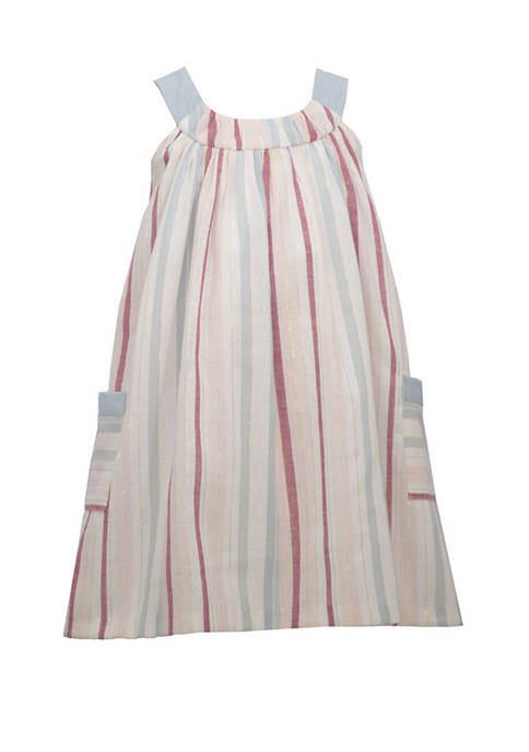 Bonnie Jean Girls 4-6x Sleeveless Linen Stripe U-Neck