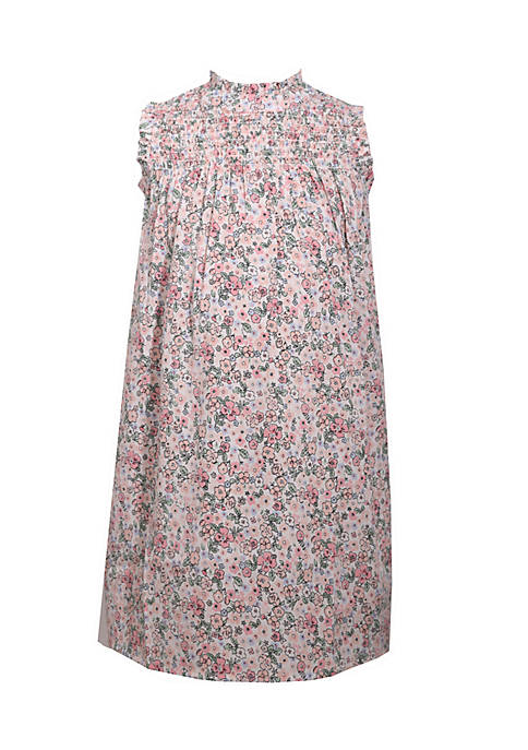 Bonnie Jean Smocked Neck Floral Dress Girls 4-6x