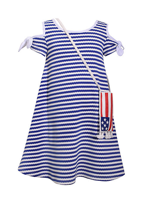 Bonnie Jean Flag Purse And Striped Cold-Shoulder Dress