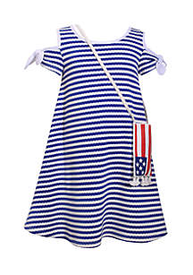 Flag Purse And Striped Cold-Shoulder Dress Girls 4-6x