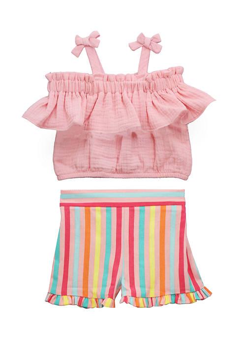Girls 4-6x Ruffle Top and Striped Shorts Set