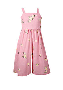 Bonnie Jean Girls 4-6x Floral Embroidered Gaucho Jumpsuit