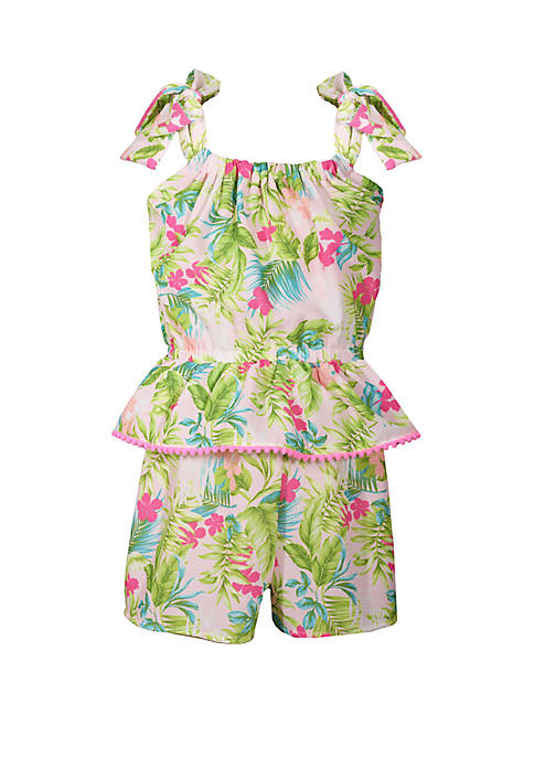 Bonnie Jean Girls 4-6x Tropical Print Romper with