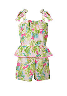 990106241e7 ... Shoulder Embroidered Romper · Bonnie Jean Girls 4-6x Tropical Print  Romper with Peplum