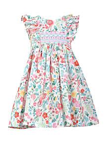 Bonnie Jean Girls 4-6x Flamingo Print Smocked Dress