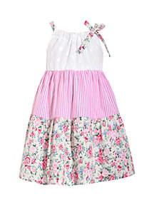 Bonnie Jean Girls 4-6x Sleeveless Eyelet Sundress with Floral Stripe Tiers