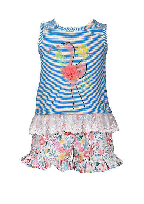 Girls 4-6x Flamingo Top and Shorts Set