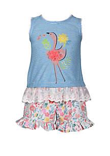 Bonnie Jean Girls 4-6x Flamingo Top and Shorts Set