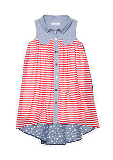 Bonnie Jean Stars and Stripes Chiffon Dress Girls 4-6x