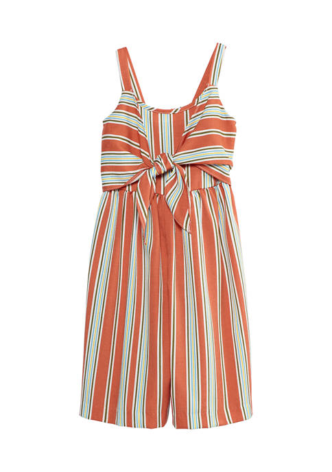 Bonnie Jean Girls 7-16 Striped Tie Front Jumpsuit