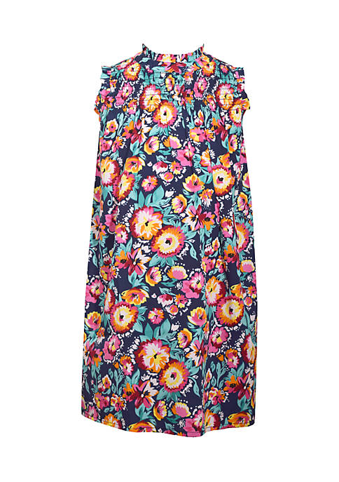 Bonnie Jean Floral Mock Neck Dress Girls 7-16