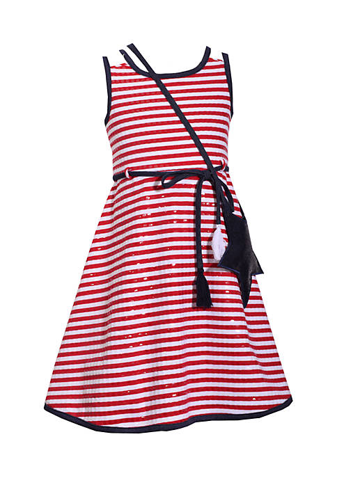 Bonnie Jean Stripe Fit-and-Flare Dress Girls 7-16