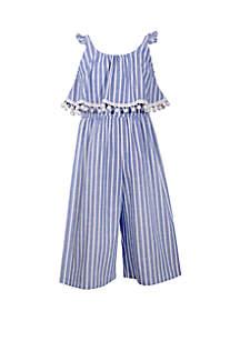 Bonnie Jean Girls 7-16 Blue Stripe Pom Gaucho Jumpsuit