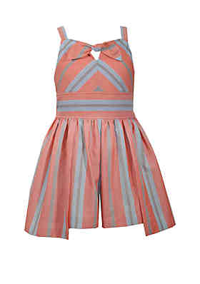 f90cc6d62f02 Bonnie Jean Girls 7-16 Orange Stripe Tie Front Romper ...