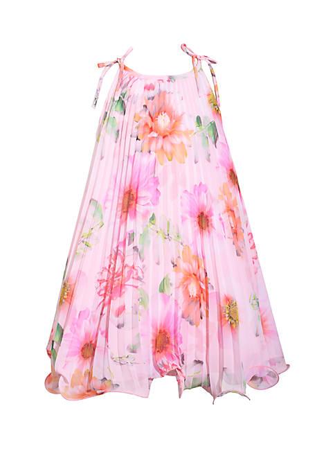 Girls 7-16 Pink Floral Trapeze Dress
