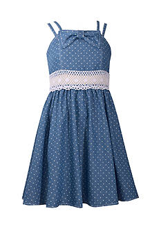Bonnie Jean Denim Dot Dress Girls 7-16 Plus