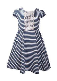 Bonnie Jean Striped Cold Shoulder Skater Dress Girls 7-16 Plus