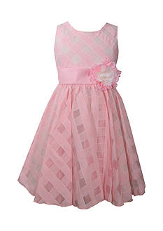 Bonnie Jean Sheer Plaid Organza Dress Girls 7-16 Plus