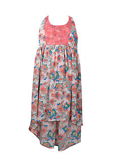 Bonnie Jean Floral Print Hi-Low Dress Girls 7-16 Plus
