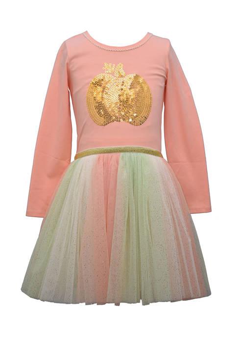 Bonnie Jean Girls 4-6x Sequin Pumpkin Dress