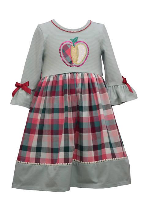 Bonnie Jean Girls 4-6x Bell Sleeve Apple Appliqué