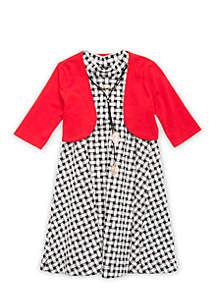 Check Knit Cardigan Dress Girls 4-6x