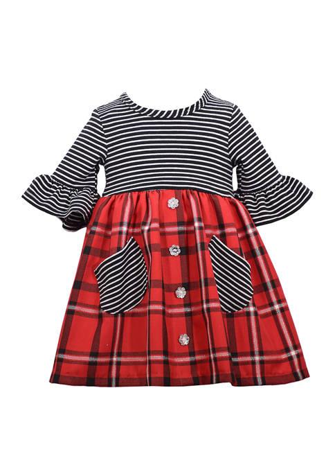 Bonnie Jean Girls 4-6x Stripe to Plaid Pocket