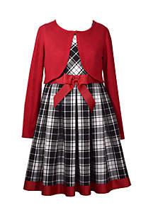 Girls 4-6x Plaid Bow Waist Cardigan Dress