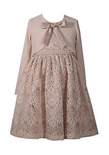 Girls 4-6x Beige Lace Dress with Cardigan