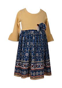 Girls 4-6x Yellow Sweater to Print Bottom Dress