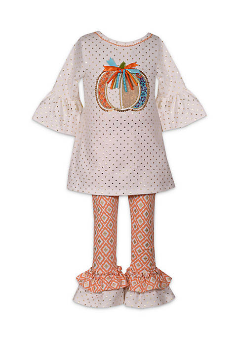 Bonnie Jean Girls 4-6x Harvest Foil Pumpkin Set