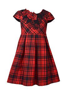 Girls 4-6x Plaid Dress with Floral Applique Neckline